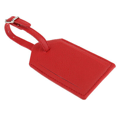 1x Red Leather Luggage Tags Suitcase Tags Travel Accessories Name Card