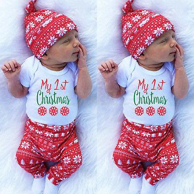 3pcs Newborn Baby First Christmas Clothes Romper Pants Hat Boys Girls Outfit