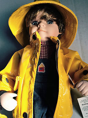 """Geppedo Rainy Day Ricky Porcelain Boy Doll 12"""" with Hang Tag, Hat & Umbrella"""