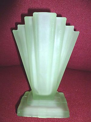 """Single Bagley  Frosted Green Glass """"grantham """" Pattern No- 334 Vase"""