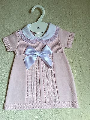SPANISH STYLE BABY GIRLS KNITTED DRESS COTTON BNWT NB, 3/6, 6/12 months