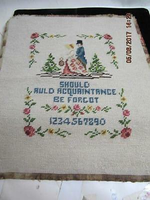 Antique Needlepoint  Canvas Should Auld Acquaintance undateed Sampler