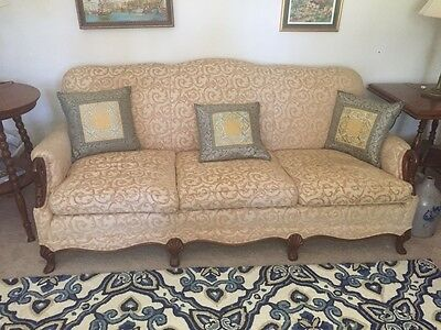Vintage 1930's Gooseneck/swan Neck Sofa Couch W/ Down Wrapped Cushions