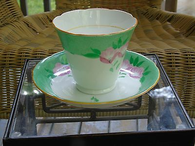 Royal Grafton Bone China Tea Cup and Saucer, Green and White with Pink Flowers