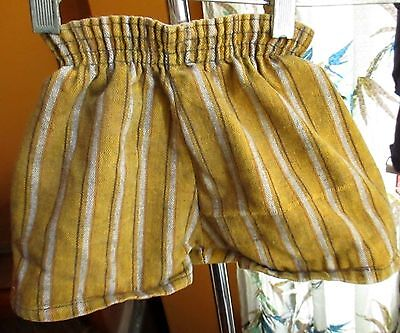 BOYS sz 3-4T  Vtg 60s Handmade heavy Cotton Gold/Black Stripe Elastic Shorts