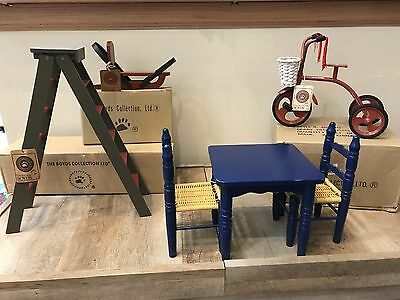 Boyds Bears Bearly Cruisin Tricycle, Ladder, Sleigh, Table And Chairs. LOT