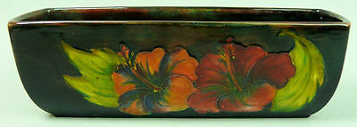STYLISH MOORCROFT ART POTTERY VASE FLOWER TROUGH HIBISCUS FLAMBE GLAZE 1960's