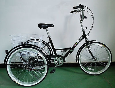 """ADULTS FOLDING TRICYCLE, 24"""" WHEELS, 6 SPD SHIMANO GEARS, BLACK, adult tricycle"""
