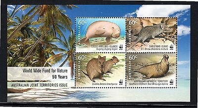 Cocos Is 50th Anniv Worldwide Fund for Nature miniature sheet SG ms450 MUH
