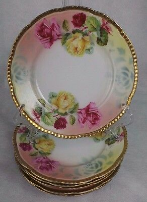 Antique 6 Prussia Royal Rudolstadt Plates With Roses & Gilding
