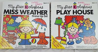 My First Colorforms - Miss Weather Dress up Set and Play House, 2 Vintage Sets