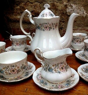 Vintage 17 Piece Royal Albert Paragon 'Meadow Vale' Bone China Tea Set