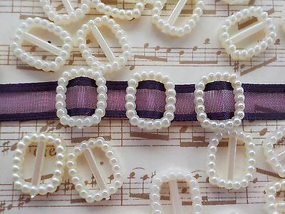 100! Pearl Ribbon Buckles Sliders -  Pearl Ivory Cream - Buckle Embellishments!