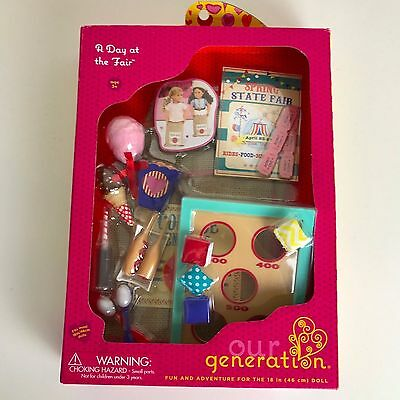 """Our Generation DAY AT THE FAIR Kitchen Food Games Accessories 18"""" Girl Doll NIB"""