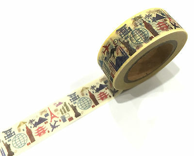 1PC Japanese Washi Tape Craft Sticker, World Town & Cities Townscape Yellow 10M