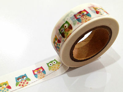 1PC Japanese Washi Tape Craft Sticker, Owl Bunting Garland 10M