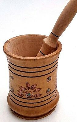 Wooden Pestle and Mortar , spice herb grinding decorative bowl