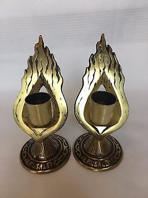 2 Jerusalem Shabbath Candlesticks -Antique Jewish Judaica -ABADA - ISRAEL 1950's