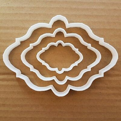 Plaque Mirror Frame Shape Cookie Cutter Biscuit Pastry Fondant Stencil SH10