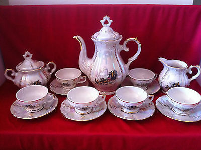 Vintage coffee set 15 pieces Veritable porcelain, made in Italy, approx. 1960-70