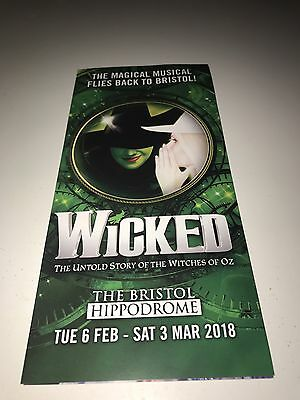 Wicked The Musical UK and Ireland TOUR Promo Flyer 2018 Bristol Hippodrome