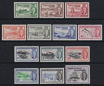 Turks & Caicos Is 1950 set of 13 - lightly mounted mint £85