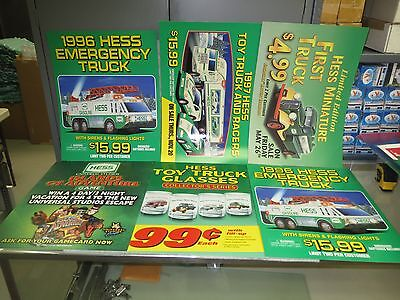 """HESS LAMINATED MISC TRUCK COUNTER SIGNS 18"""" by 13.5"""" ALL NEW"""