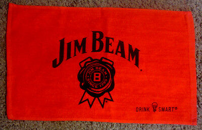 "Jim Beam Red Cotton Terry Bar Towel 18.5X11"" Drink Smart NEW/NEVER USED"