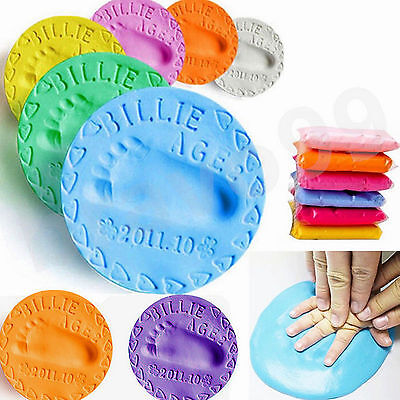Air Drying Soft Clay Baby Handprint Footprint Casting fingerprint ink 6Colors US