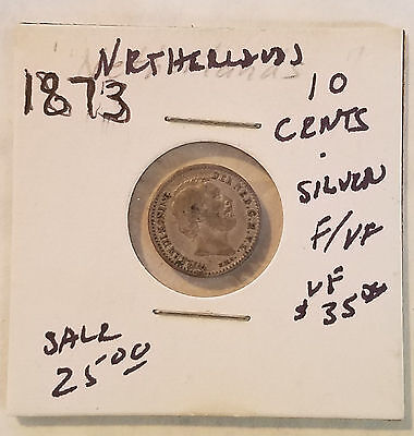 1873 Netherlands 10 Cents Silver - Circulated - Free Shipping