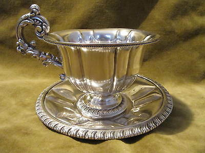 1840 french sterling 950 silver tea cup & saucer Louis Philippe St Veyrat 218g