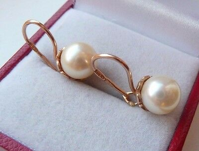 Vintage Soviet Russian 583,14k Solid Rose Gold Earrings With Pearls
