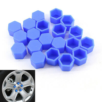 For VW CC AUDI Blue 20PCS Car Wheel Nut Bolt Tire Screw Cover Cap Dust 19mm