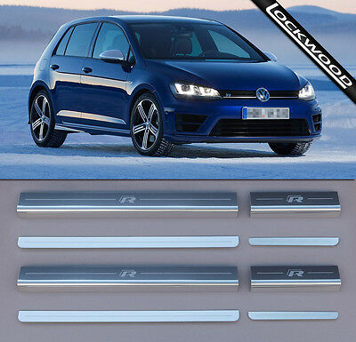 VW Golf Mk7 R (released approx 2014) 4 Door Sill Protectors / Kick plates