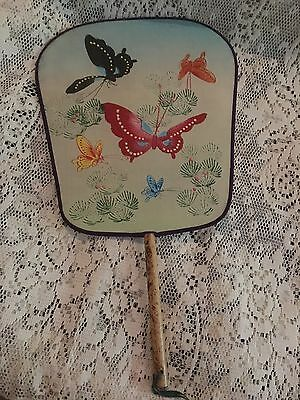 Vintage Hand Painted Canvas Oriental Japanese Hand Fan Wooden Handle