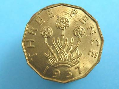 1937 King George VI -  BRASS THREEPENCE COIN - Good Grade with lustre