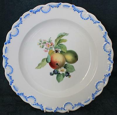 """Beautiful Antique 19Th Century Meissen Hand Painted Fruit 10"""" Plate"""