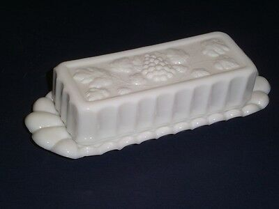 Vintage Westmoreland Milk Glass Butter Dish Paneled Raised Grape Pattern