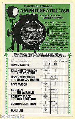 1976 FLEETWOOD MAC James Taylor AL GREEN Linda Ronstadt + more Concert Handbill