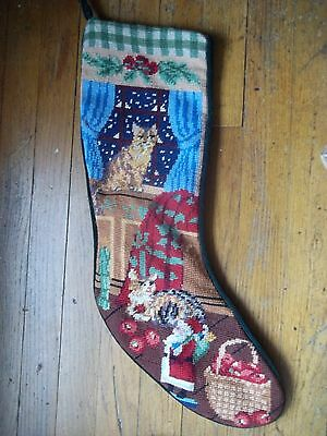 CALICO TABBY kitty CATS santa NEEDLEPOINT mantle CHRISTMAS STOCKING