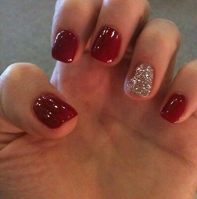 hand painted red+silver full cover stiletto square oval false nails