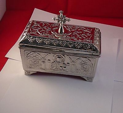 Christian Reliquary Presanctified Box Beautiful Brass Work .Silver color.