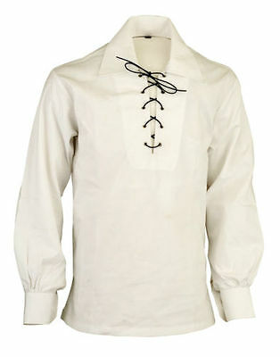 Ghillie Cream Jacobite Scottish Kilt Shirt with Leather Cord Sizes S,M,L,XL,XXL