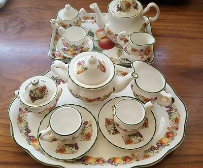2 x Fresh fruit print miniature tea set. Damaged but can mix & use as one