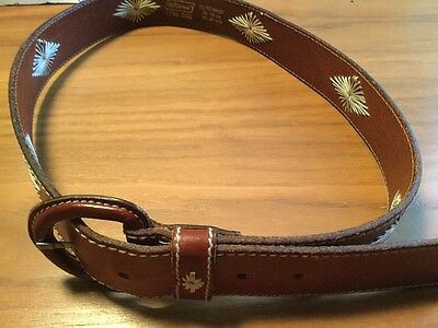 """Vintage Classic St Michael Tan Leather Belt Embroidered 30-32"""""""