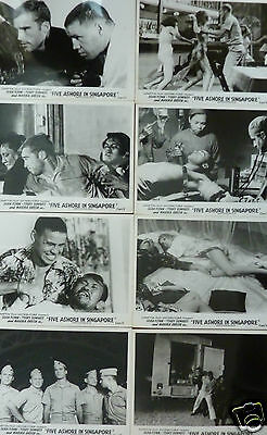 Five Ashore in Singapore  Sean Flynn  8 x Vintage Lobby Cards  UK