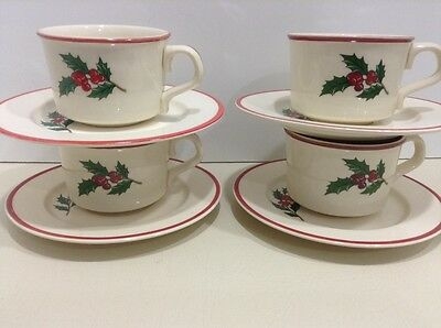 Taylor smith & Taylor Christmas Holly & Spruce Pattern (4) Cups & Saucers