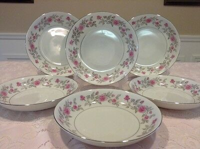Harmony House, China Dinnerware Sears, Laura. Pink Rose ~ 6 Soup bowls