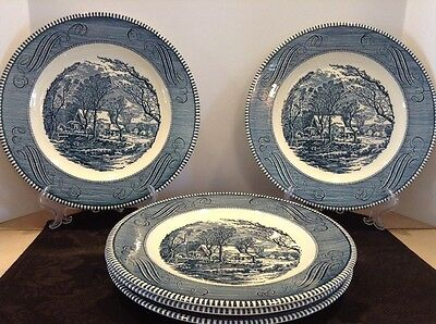 "Royal USA China CURRIER & IVES (5)10"" Dinner Plates ""Old Grist Mill"" Retired EC"