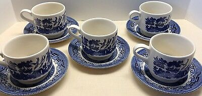 Set Of 5 Churchill England Blue Willow Cups & Saucers